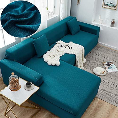 JPL Funda de sofá en forma de L para sofá de mascotas, funda de sofá elástica, para sofá de 1 2 3 4 asientos, protector de muebles rosa de 3 plazas y 3 plazas, azul-verde, silla 90 ~ 140 cm