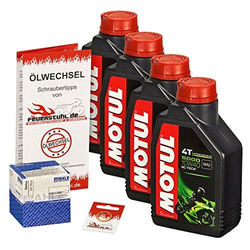 Motul 10W-40 Öl + Mahle Ölfilter für Honda CBR 900 RR Fireblade, 00-03, SC44 SC50 - Ölwechselset inkl. Motoröl, Filter, Dichtring