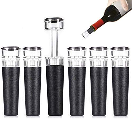Wine Stoppers 6 PACK Vacuum Wine Stopper Reusable Wine Bottle Stoppers with Built in Vacuum product image