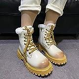 ZXCN 2021 Nuevas Mujeres Botas de Tobillo Encaje-up Toe Round Toel Tacón de la Moda Zapatos de Nudo de Piel de Invierno Peluche cómodo Suave Hembra Zapatos cálidos