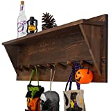 WEBI Coat Rack Wall Mount with Shelf,8 Peg Hooks,34'' Long Rustic Entryway Shelf with Hooks Underneath for Hanging Coats,Clothes,Bathroom,Rustic Brown
