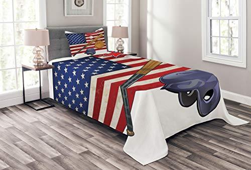 ABAKUHAUS Sport Tagesdecke Set, USA-Flagge und Baseball, Set mit Kissenbezug Moderne Designs, für Einselbetten 170 x 220 cm, Mehrfarbig