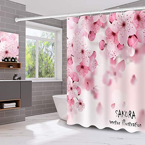 XCBN Creative design painted flower blue printing shower curtain waterproof and mildewproof home decoration shower curtain with hook A1 150x180cm