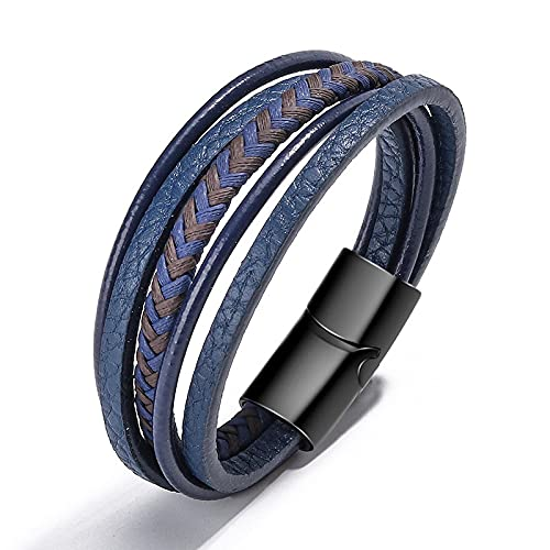 Hand-Woven Multi-Layer Men'S Rope Leather Bracelet, Creative Ethnic Style Simple Magnetic Buckle Bracelet Jewelry Gift Mixed Color Twist Braid Black Buckle