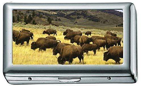 Landschaften Natur Tiere Wildlife Felder Wyoming Yellowstone National Park Bison Zigarettenetui / -schachtel Visitenkartenetui Edelstahlgehäuse Silber Metall Brieftasche Schutz