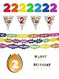 Unbekannt 2. Geburtstag Partyset Dekoset - Girlanden, Luftballons, Geburtstagskerzen