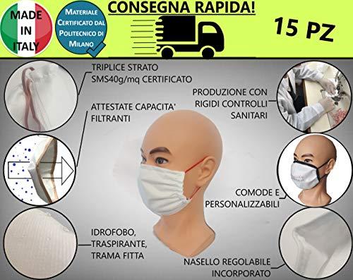 15 Mund und Nase Made in Italy, waschbar, in 3 Schichten mit SMS40 g/m², zertifiziert durch die Politik Milano, hydrophob, dicht gewebt, atmungsaktiv, hohe Filtrationsfähigkeit - M04 Red