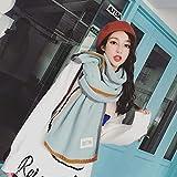 Tuzi Qiuge Schals Damenschals verdicken warme Wolle Strickschals Japanische und koreanische Stil Mädchen Altersreduzierende Modeschals Reine Farbe All-Match-Warmschals QiuGe (Color : Light Green)