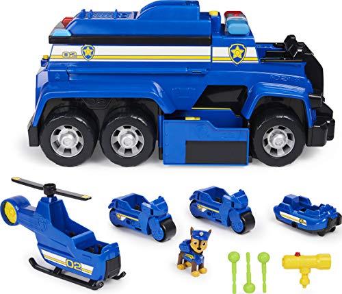 PAW Patrol 6058329 5 in 1 Polizeifahrzeug von Chase 4 Mini Fahrzeuge plus Polizeicruiser plus Chase Figur