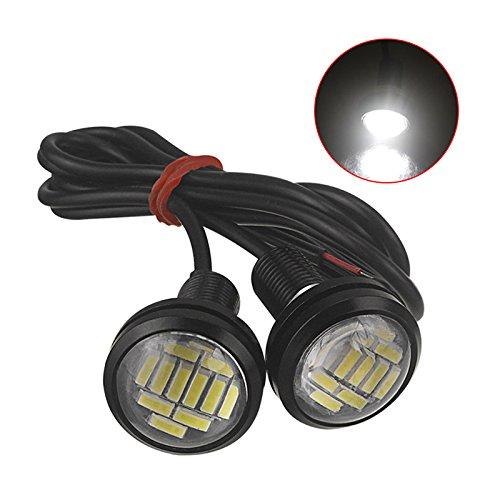 BEESCLOVER Lot de 2 feux de circulation diurnes LED Eagle Eye 4014 12SMD 23 mm étanches pour moteur de voiture Lumière blanche