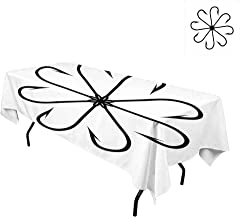 kangkaishi Fishing Decor,Waterproof Tablecloths,Flower Shaped Artisan Steel Multi Hook Gaff in Row New Needle Device Figure,Home Decoration Outdoor,W60 x L120 Inch Black White