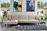 Futon Recliner Sleeper Sofa Bed, Convertible Futon Sofa Couch Sectional with Reversible Chaise,(Sofa to Bed Feature) Left or Right Modern L-Shaped Lounger Sectional Sofa & Fully Recline Chaise Beige