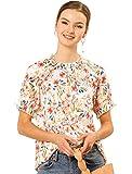 Allegra K Women's Ruffled Short Sleeve Floral Mock Neck Ruffle Tops Blouses X-Small White