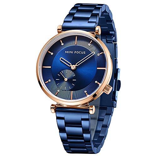 Reloj De Moda para Mujer, Correa De Acero Inoxidable, Placa De Reloj De Cuarzo con Diamantes Resistente Al Agua