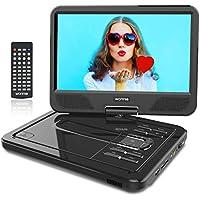 """WONNIE 12"""" Reproductor de DVD Portátil con Pantalla Giratoria para Coche Soporte SD/USB/CD/DVD/MP3/JPEG 4 Horas Batería Recargable con Mando a Distancia"""