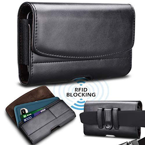 Takfox Phone Holster for Samsung Galaxy Note 20 Ultra S21+ S20 S10 S9 A01 A11 A21 A51 A71 A10E A20 A12, iPhone 12 11 Pro Max SE XS XR 8 7+ Leather Belt Clip Loops Pouch Phone Card Holder Case,Black