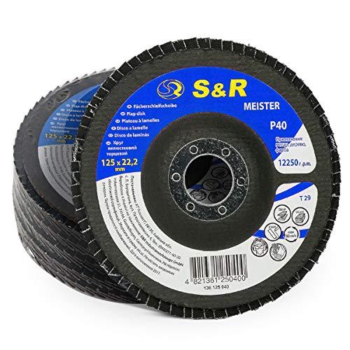 Disco de Laminas 125 m x 22,23 para Acero y Madera, Grano 40, 29 Dientes. Set 5 discos abrasivos para amoladora angular.