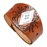 crintiff - Leather Cuff Wristband Bracelet for Men and Women with Triangle Turquoise - Color Brown