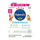 Kids Cold Medicine and Mucus Relief for Ages 2+, Hylands 4 Kids Cold 'n Mucus, Day and Night Value Pack, Syrup Cough Medicine for Kids, Nasal Decongestant and Allergy Relief, 4 Fl Oz Each