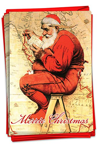 The Best Card Company - 12 Merry Christmas Cards with Envelopes - Boxed Cards with Santa Claus, Vintage Holiday Greetings (1 Design, 12 Cards) - Rockwell Holidays Map B6036IXSG