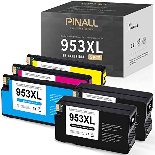PINALL 5 cartuchos de tinta compatibles HP 953 XL 953XL para HP OfficeJet Pro 8210 8216 8218 8710 8715 8718 8719 8720 8725 8728 8730 8740 7740 7730 7720 WF 8200(2 negro/1 cian/1 magenta/1 amarillo)
