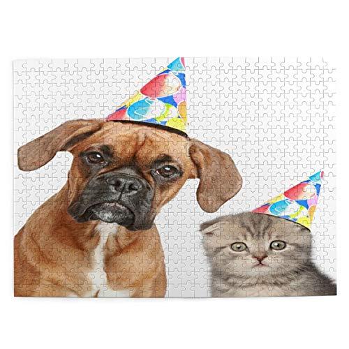 MAYUES Rompecabezas Puzzle 500 Piezas Perro Boxer Scottish Fold Cat Party Inteligencia Jigsaw Puzzles para Adultos Niños Juegos