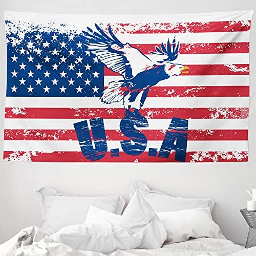 ABAKUHAUS Vereinigte Staaten Wandteppich & Tagesdecke, Amerikanische Flagge, aus Weiches Mikrofaser Stoff Wand Dekoration Für Schlafzimmer, 230 x 140 cm, Navy Weiß Rot
