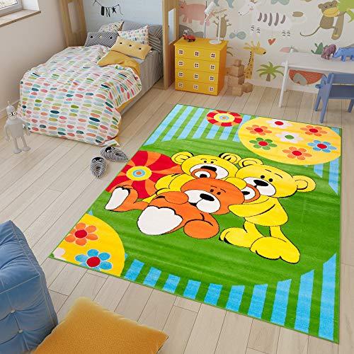 Tapiso Kinder Teppich Kurzflor Weich Kinderteppich Spielteppich Bären Teddy Blumen Muster Grün Blau Bunt Kinderzimmer ÖKOTEX 120 x 170 cm