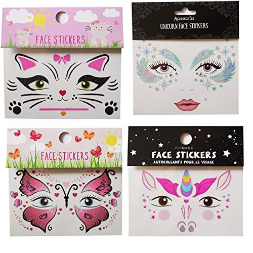 GGSELL GGSELL Temporary tattoos 4pcs face stickers in one package, it including butterfly face sticker, cat face sticker,unicorn face sticker and beautiful face sticker.
