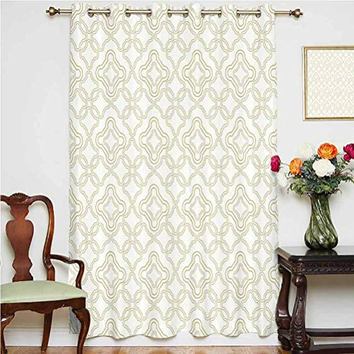 Ivory Window Curtain Geometric Shabby Chic Motif with Classic Effect Rococo Style Oriental Arabesque Design Grommets Panels Printed Curtains ,Single Panel 63x45 inch,for Living Room Cream Tan
