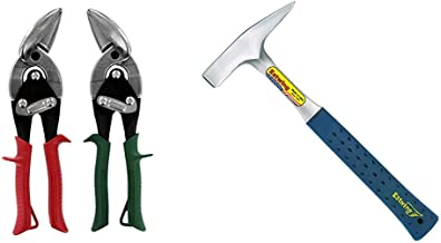product image for MIDWEST Aviation Snip Set - Left and Right Cut Offset Tin Cutting Shears & Estwing Tinner's Hammer - 18 oz Metalworking Tool with Forged Steel Construction & Shock Reduction Grip - T3-18