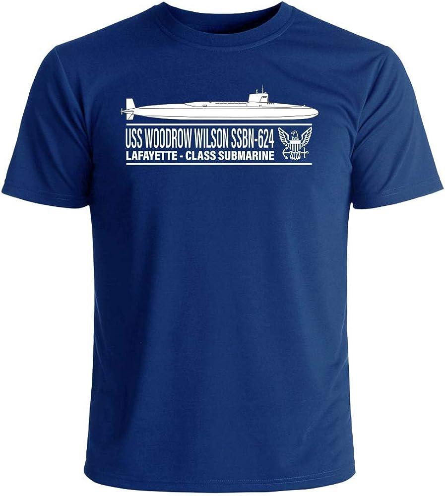 USS Woodrow Wilson SSBN-624 T-Shirt Officially Licensed US Navy Submarine Men's Short Sleeve T-Shirt