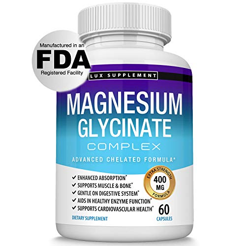 Magnesium Glycinate Complex 400 mg High Absorption 100% DV Chelated - Formulated for Calm, Sleep, Muscle Relaxation & Recovery, Maximum Bioavailability, Vegan For Men Women, 60 Capsules Lux Supplement