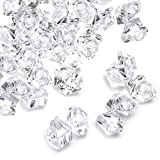 Jucoan 1000 PCS Fake Ice Cubes, 5.5 lbs 1 Inch Irregular Acrylic Crushed Ice Rocks, Artificial Crystals Diamond, Clear Acrylic Treasure Gems for Table Scatters, Vase Filler, Wedding, Party Decoration