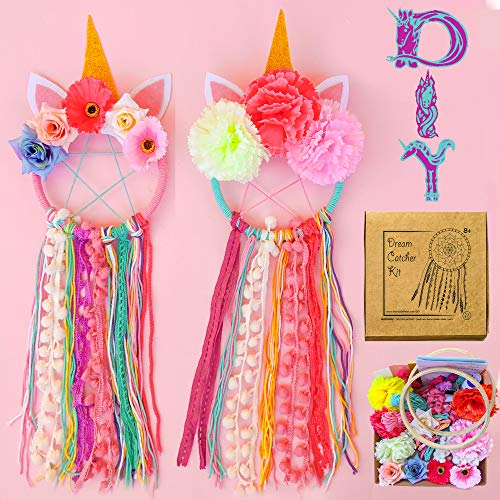 Mandala Life ART DIY Unicorn Dream Catcher Kit 6x20 inches - 2 Pack - Make Your Own Bohemian Wall Hanging with All-Natural Materials - Creative Activity Set for Kids