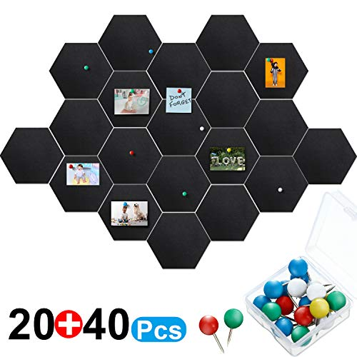 20 Packs Pin Board Hexagon Felt Board Tiles Black Bulletin Board Memo Board Notice Board with 40 Pieces Push Pins, Decoration for Home Office Classroom Wall 5.9 x 7 inches/ 15 x 17.7 cm