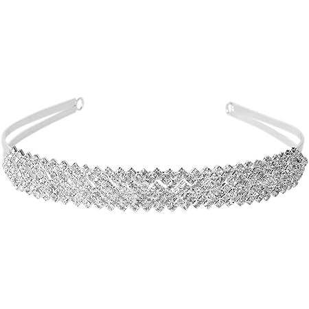 Rosenice, tiara per capelli da principessa, impreziosito con strass, accessorio da sposa (argento)