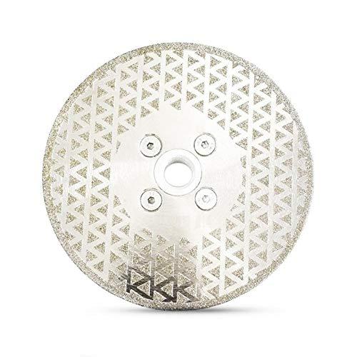 WEISHAN - Disco de corte y molienda de diamante galvanizado de 5 pulgadas con doble cara de pulido M14 con brida de diamante de WEISHAN (color: plata, tamaño: 125 mm)