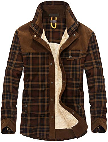 Lavnis Men's Cotton Shirt Jacket Button Down Shirts Casual Corduroy Thicken Fleece Shirt Coat Coffee M