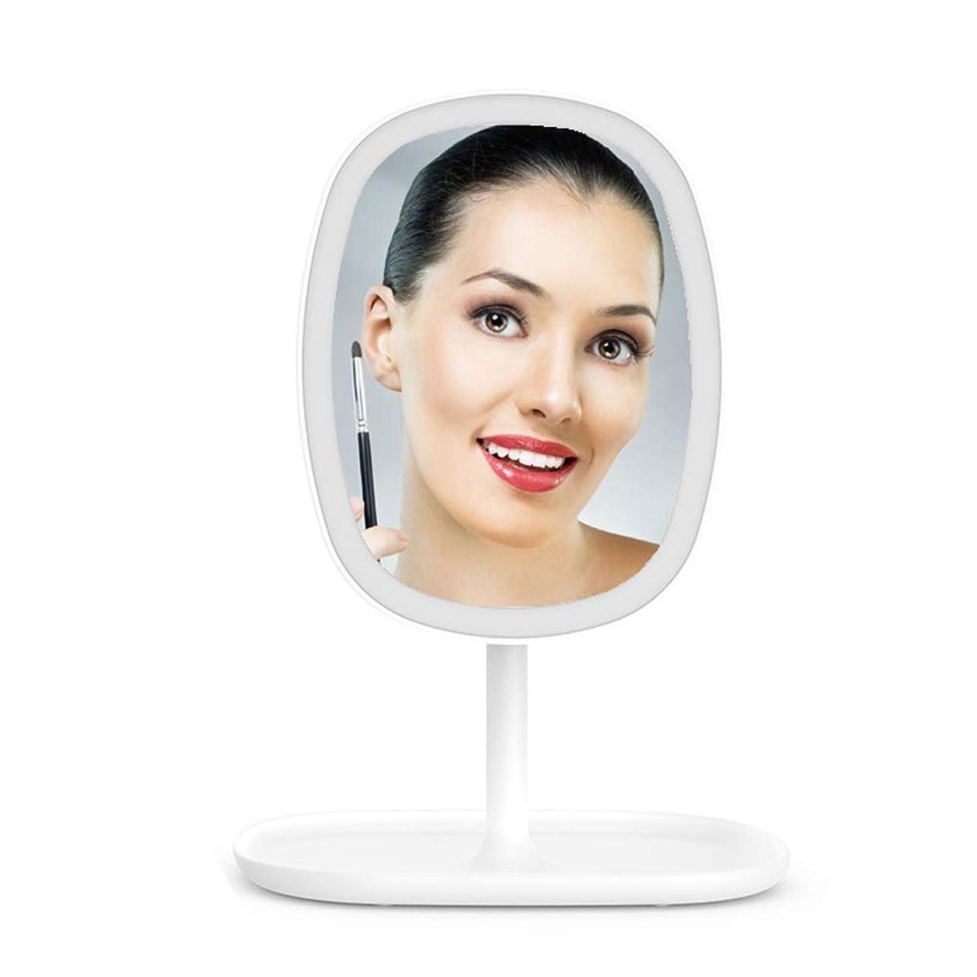 ギャンブル希少性ハリウッドLED照明付き化粧鏡タッチセンサースイッチ調節可能な明るさ(3段階)卓上ミラー化粧台ミラー自立型ポータブル美容ミラー180°回転朝夜間フィルライト (Color : 白)