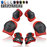 Wemfg Kids Protective Gear Set Knee Pads for Kids 3-8 Years Toddler Knee and Elbow Pads with Wrist Guards 3 in 1 for Skating Cycling Bike Rollerblading Scooter(Red)