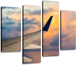 4 لوحات طائرة في رحلة عند غروب الشمس طائرة صور المخزون ، صور قماشية ديكور منزلي هدايا قماش جدار الفن لغرفة المعيشة الخاصة بك