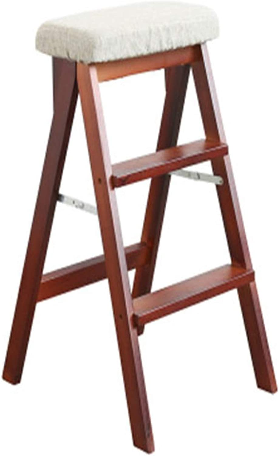 Solid Wood Folding Bench Bar Stool Wooden Ladder Home Folding Chair Multi-Function Fabric High Stool