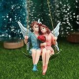 Yesoa Figura de hadas de jardín – Niño y niña sentado en columpio, estatua decorativa...