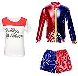 CBBI-WCCI Niñas Harlyquin Outfit Carnaval de Halloween FancyDress (Rojo, 7-9 años (130-140cm))