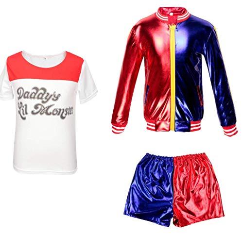 CBBI-WCCI Ragazza Harlequin Outfit del Vestito Operato dai Bambini delle Ragazze Carnevale di Halloween FancyDress (Rosso, 7-9 Anni (130-140 cm))
