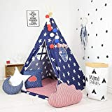 Step Up Marketing Blue Baby Jumbo Size Extremely Light Weight Portable Teepee Kids Play House Tent for 10 Year Old Girls and Boys with mat and cusion