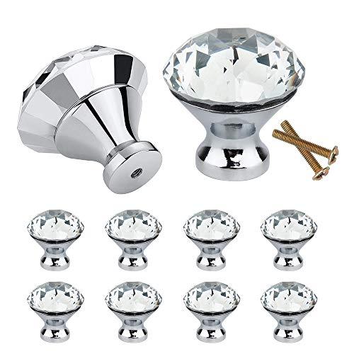 10 Stück Kristall Schubladenknöpfe 30mm Kommode Möbelknöpfe Zinklegierung Kristallglas Moebelknauf mit Schrauben für Schranktüren Schubladen (Silber)