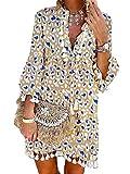 Tomwell Donna Abito A Maniche Lunghe Scollo a V Sciolto Vestito Estivo Boemia Vestito da Spiaggia Taglie Forti Nappa Mini Vestiti H Cachi M