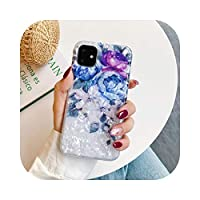 For iPhone 11 Pro Max X XR XS Max 6 6s 7 8Plusカラフルなファッションシンプルな3色牡丹の花可動電話ケースソフトバックカバー-B-For iPhone 6